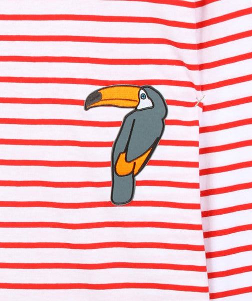RED TOUCAN PATCH T-SHIRT - MCINDOE DESIGN - tropical - printed - clothing - travel - beach