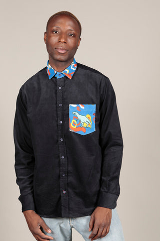 NAVY CORDUROY OVERSHIRT - MCINDOE DESIGN - tropical - printed - clothing - travel - beach