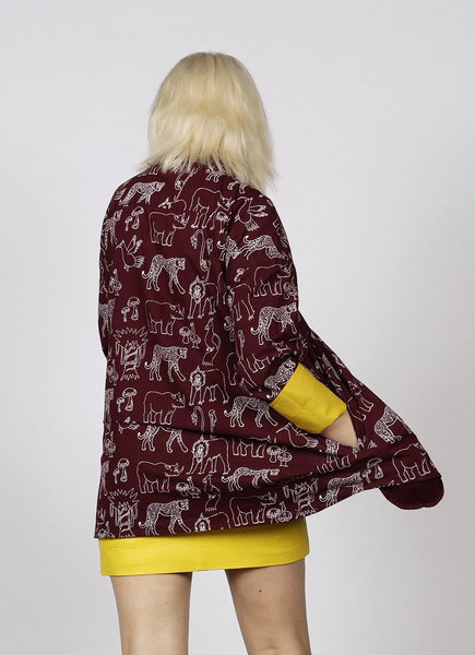 OVERSIZED MAROON JUNGLE PRINT SHIRT - MCINDOE DESIGN - tropical - printed - clothing - travel - beach