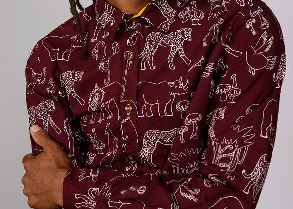MAROON JUNGLE SHIRT - MCINDOE DESIGN - tropical - printed - clothing - travel - beach