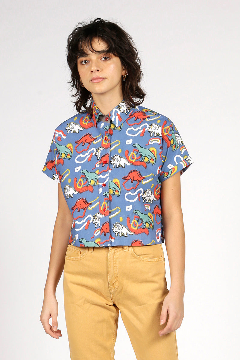 SHORT-SLEEVED DINOSAUR SHIRT - MCINDOE DESIGN - tropical - printed - clothing - travel - beach