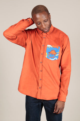 RUST CORDUROY OVERSHIRT - MCINDOE DESIGN - tropical - printed - clothing - travel - beach