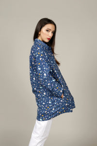 OVERSIZED NAVY TERRAZZO PRINT SHIRT - MCINDOE DESIGN - tropical - printed - clothing - travel - beach
