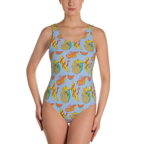 Sloth Print Swimsuit - MCINDOE DESIGN - tropical - printed - clothing - travel - beach