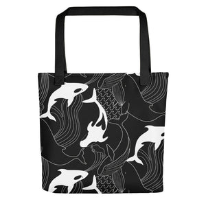 MONOCHROME WHALE PRINT TOTE BAG - MCINDOE DESIGN - tropical - printed - clothing - travel - beach