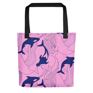 Pink Whale Print Tote Bag