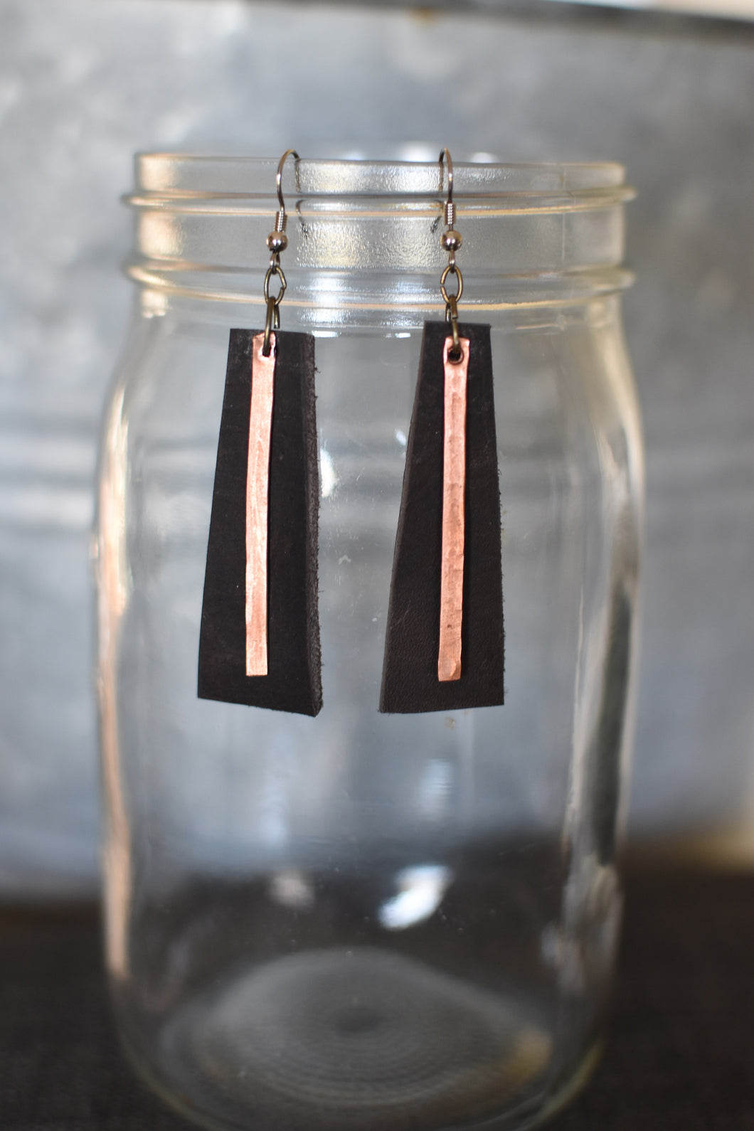 Leather Trapezoid with Hand Pounded Copper Strip Earrings