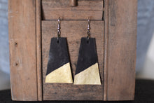 Leather Trapezoid with Golden Edge Earrings