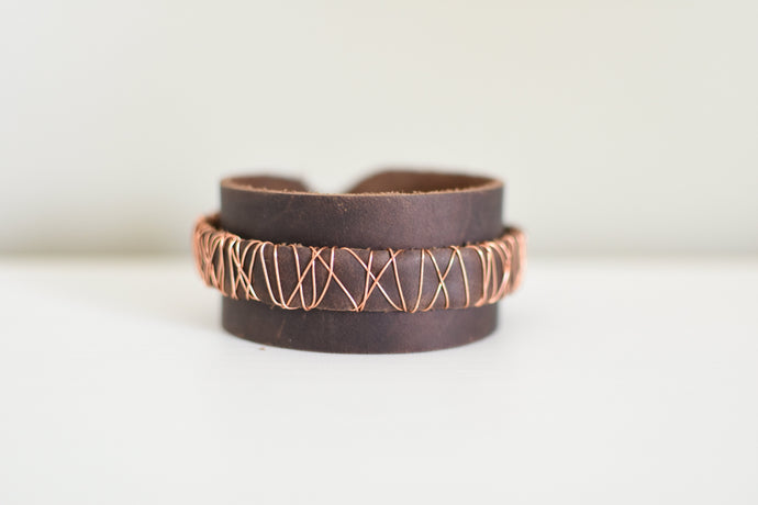 Leather and Copper Cuff