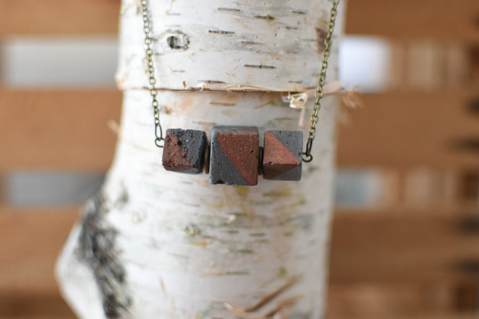 Concrete Cube Necklace- Charcoal