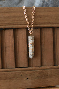 Wire Wrapped Concrete Pendant Necklace
