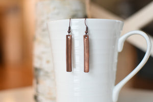 Hand pounded copper earrings