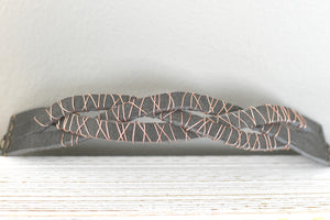 Grey braided leather and copper wire wrapped bracelet