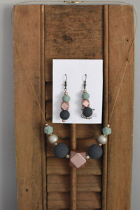 Painted Bead Earrings / Necklace Set