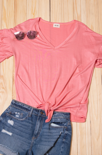 Pink Solid Double Sleeve Tie Top