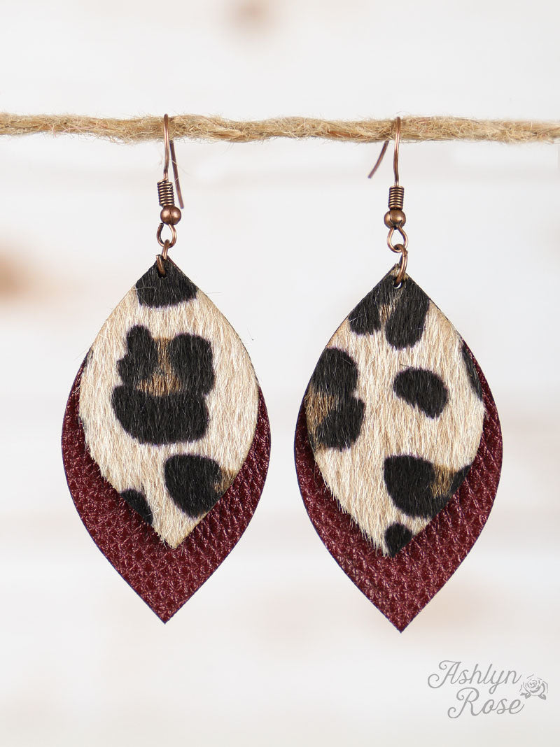 Merlot Leather Leopard Leaf Earrings
