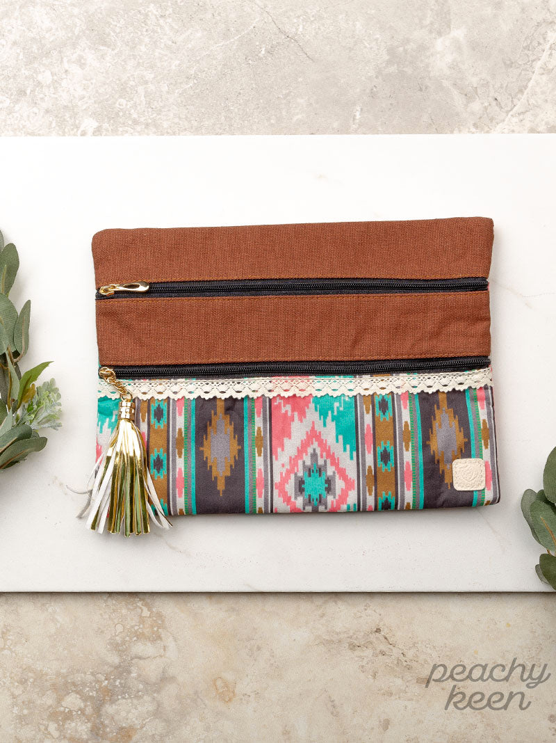Tribal & True Double Zipper Cosmetic Bag