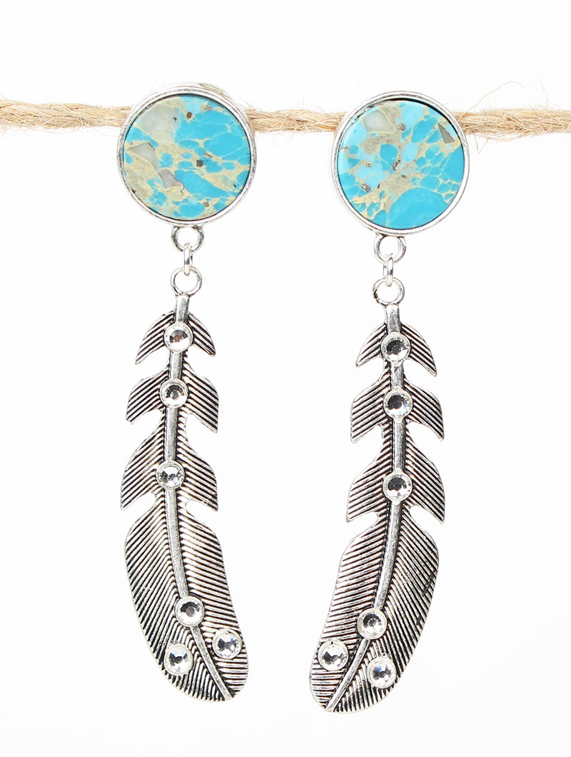 Turquoise Feeling Free Feather Earrings with Clear Crystals, Silver
