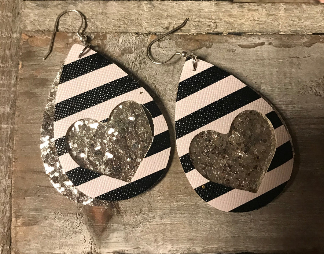 Silver Glitter Stripe Layered Faux Leather Earrings