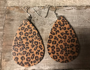 Leopard Faux Leather Earrings