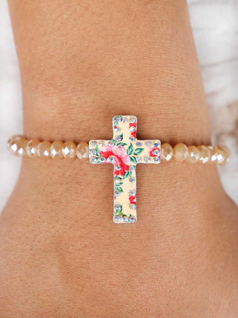 Beige Floral Cross Bracelet with AB Crystals