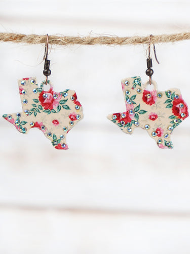 Beige Floral Texas Earrings with AB Crystals