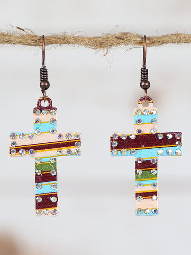 Brown & Light Blue Cross Earrings with AB Crystals