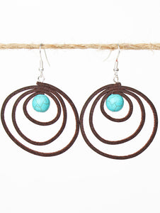 Brown Lasso Leather Earrings with Turquoise Bead