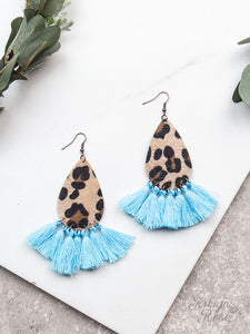Drop Everything Earrings with Fringe Tassels, Light Blue