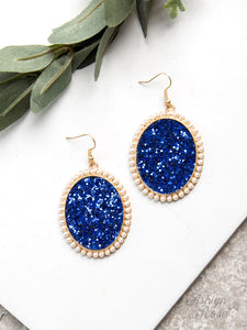 Glitter and Glam Oval Earrings, Royal