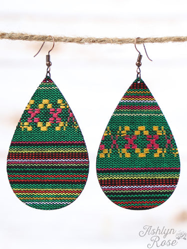 Green Serape Leather Teardrop Earrings, Copper
