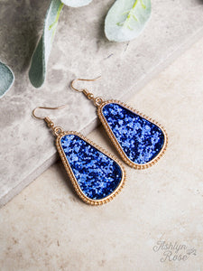 Gumdrop Glam Earrings, Royal Blue Glitter