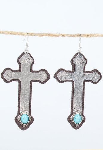Leather & Metal Cross Earrings with Turquoise Accent