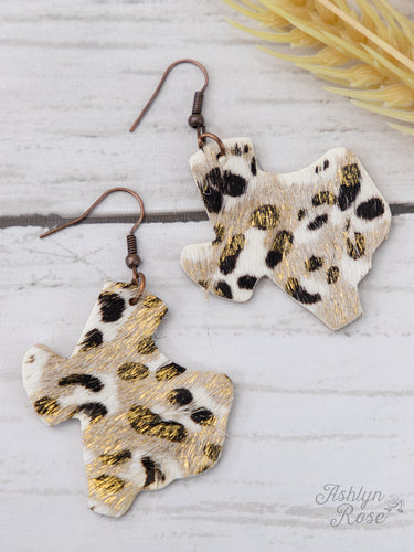 Leopard Print Texas with Gold Shimmer Earrings, Copper