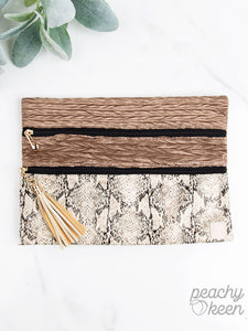 Python Perfection Double Zipper  Cosmetic Bag