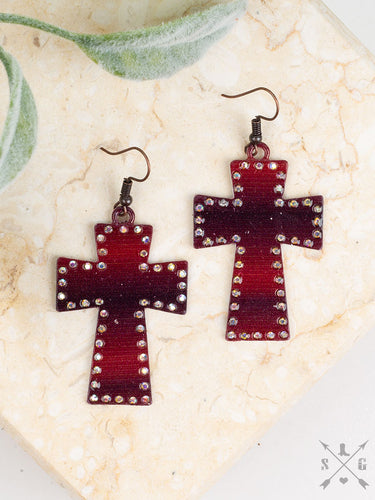 Red & Black Ombre Cross Earrings with AB Crystals