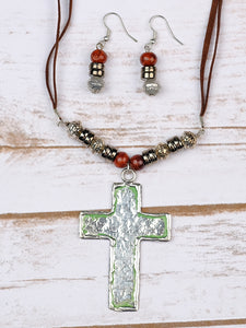 Silver Cross Pendant on Long Brown Necklace & Earring Set- Sale