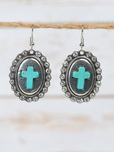 Silver Oval Concho Earrings with Turquoise Cross
