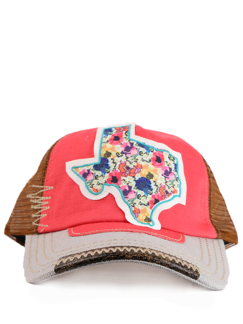 Vibrant Floral Texas Patch on Coral, Brown, & Gray Bill Hat