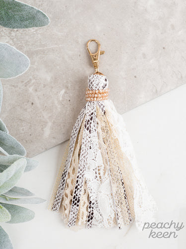 You're a Charmer Tassel Keychain, White Snakeskin