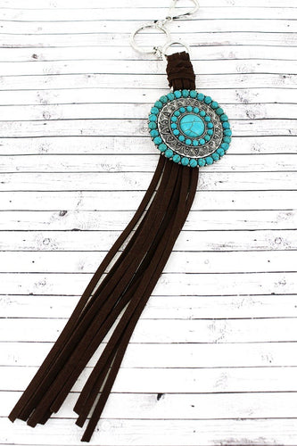 Turquoise Beaded Medallion and Brown Faux Suede Tassel Keychain