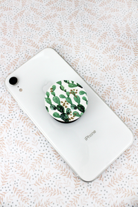 Glitter Prickly Pear Cactus Wood Disk Phone Grip