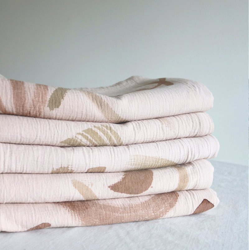 Botanical Painted Walnut Tones Waffle Cotton Blanket