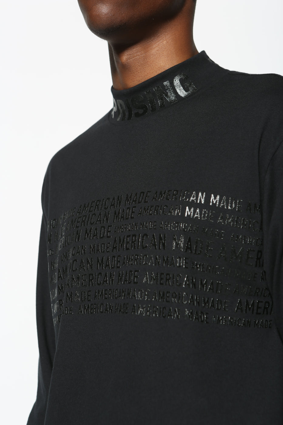 --Black Top - AmericanMade MockNeck LongSleeve Diversity Graphic Limited Edition--