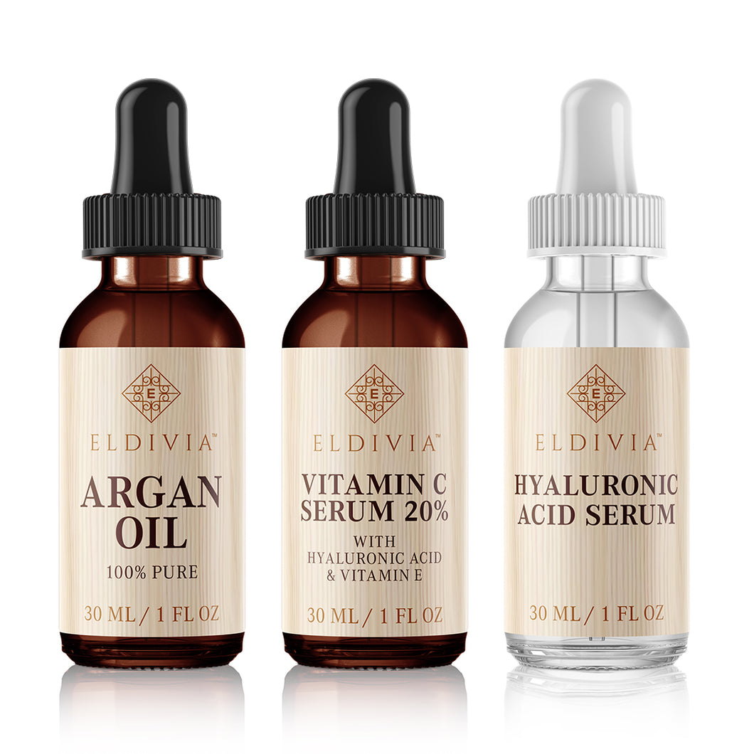 trifecta vitamin c serum hyaluronic acid serum argan oil serum eldivia