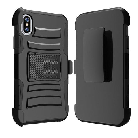 IPhone X / 10 Armor Belt Clip Holster Case Cover Black
