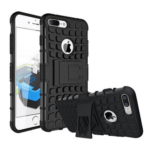 IPhone 8 Plus / 7 Plus TPU Slim Rugged Hybrid Stand Case Cover Black