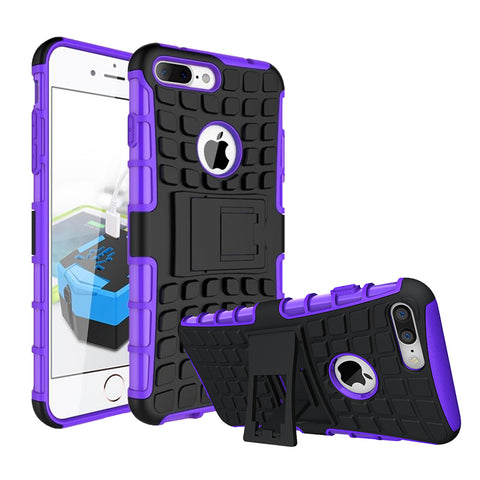 IPhone 8 Plus / 7 Plus TPU Slim Rugged Hybrid Stand Case Cover Purple