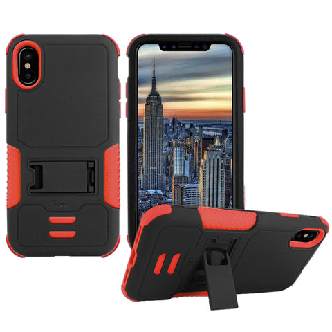 IPHONE X Impact Silicone Case Dual Layer with Stand Red