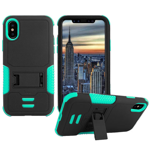IPHONE X Impact Silicone Case Dual Layer with Stand Teal